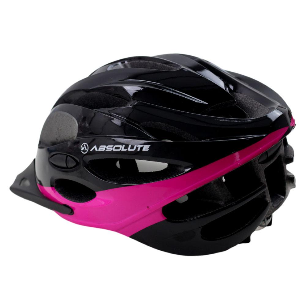 Capacete Bicicleta Absolute MIA Feminino Preto e Rosa Tamanho M Speed ou MTB com LED Sinalizador