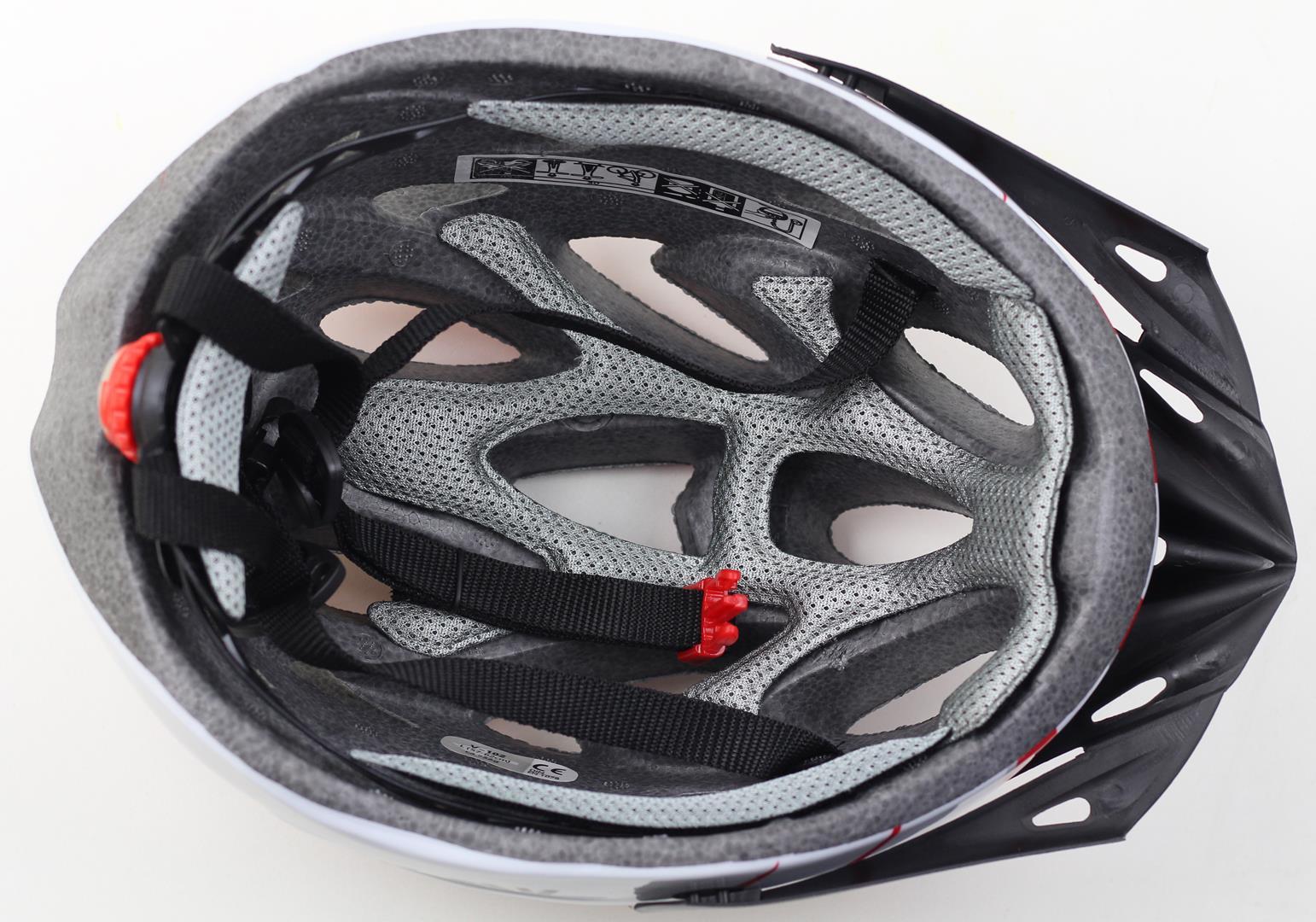 Capacete Bicicleta Argon Branco Com Vermelho Com Viseira Tamanho M 54-57cm Speed ou MTB com LED