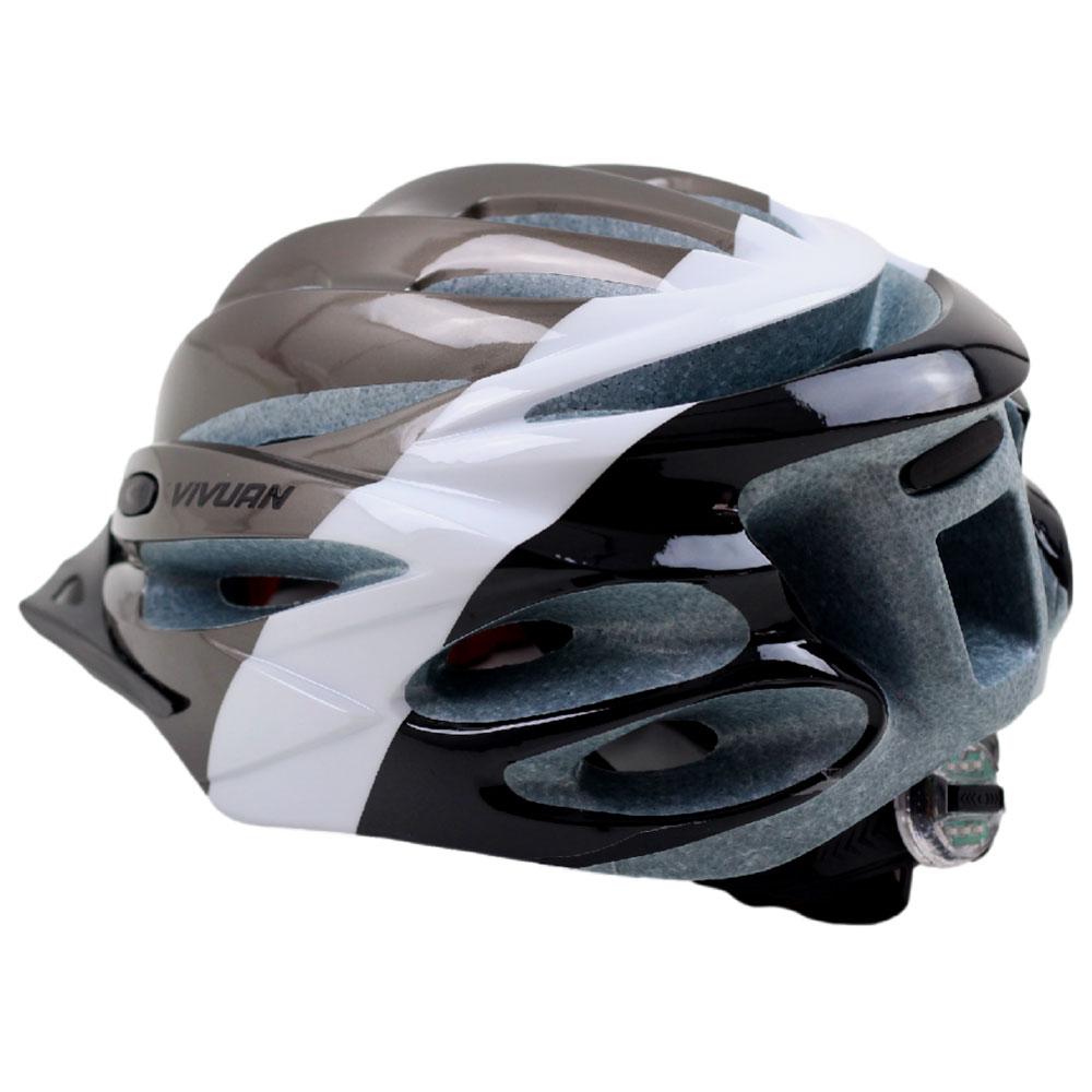 Capacete Bicicleta Vivuan WT-007 Branco e Titânio Tamanho L 57-62cm Speed ou MTB Led Sinalizador