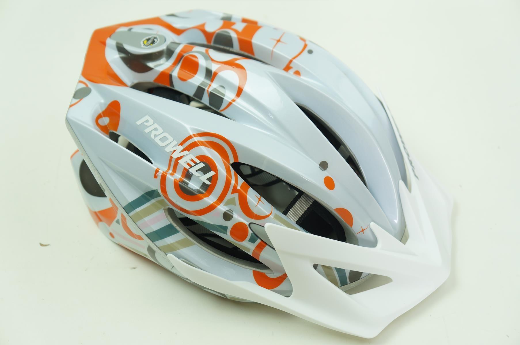 Capacete Bike Prowell F44 Tamanho M Com Viseira Cor Branco com Laranja