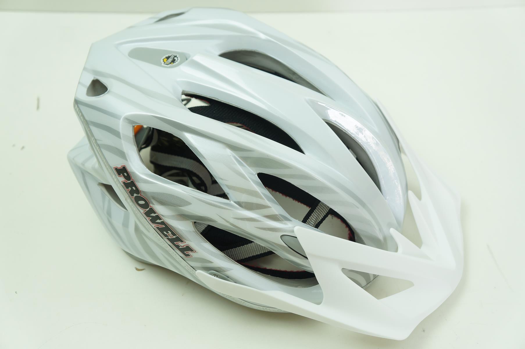 Capacete Bike Prowell F55 Cor Branco com Prata Tamanho G com Viseira