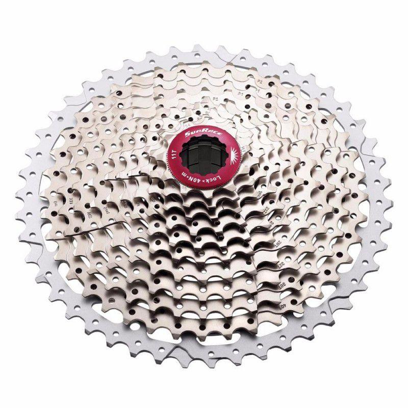 Cassete Bicicleta Sunrace MX8 11-46 11 Velocidades Cor Prata com Vermelho