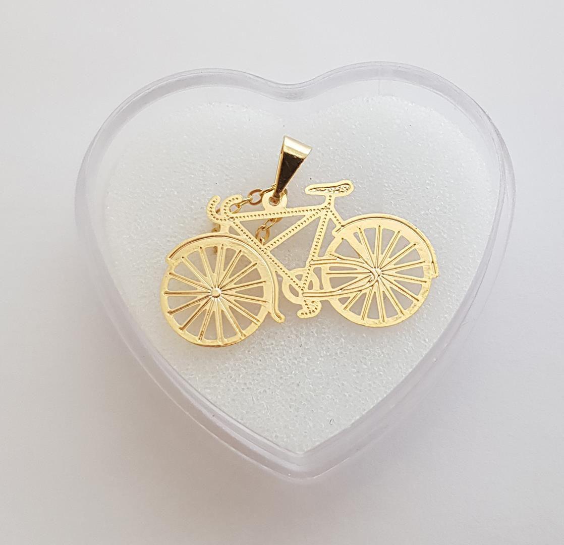 Colar com Pingente de Bicicleta Gargantilha Folheada à Ouro 18k