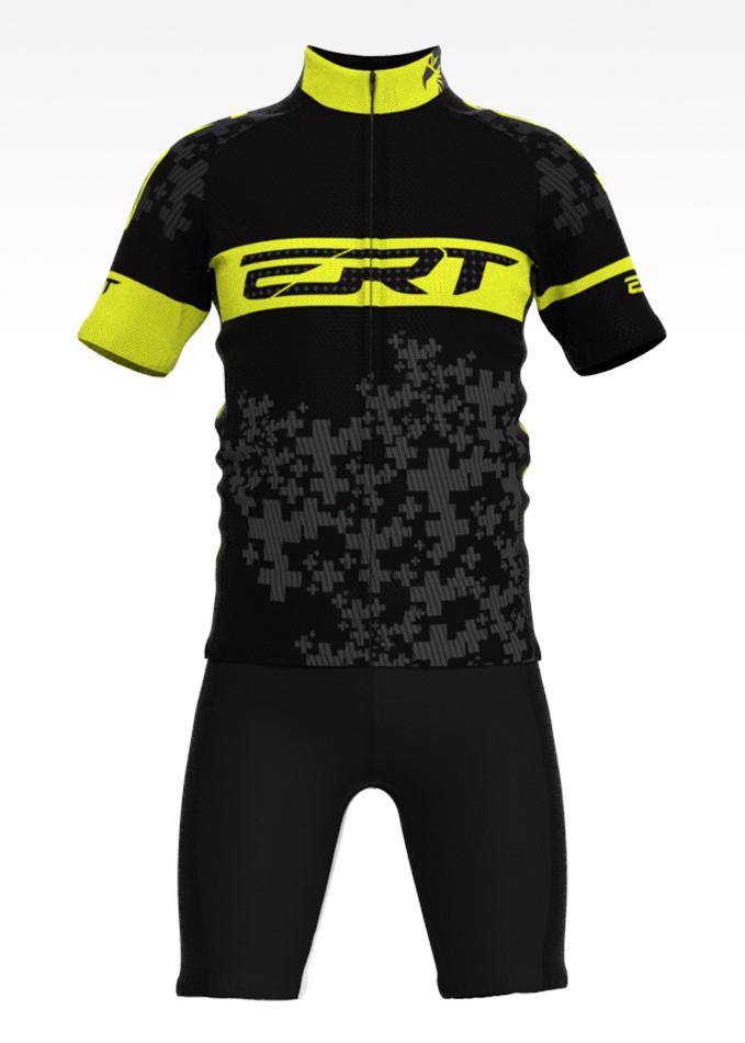 Conjunto de Ciclismo Infantil Preto com Amarelo Camisa + Bermuda - Tamanho G