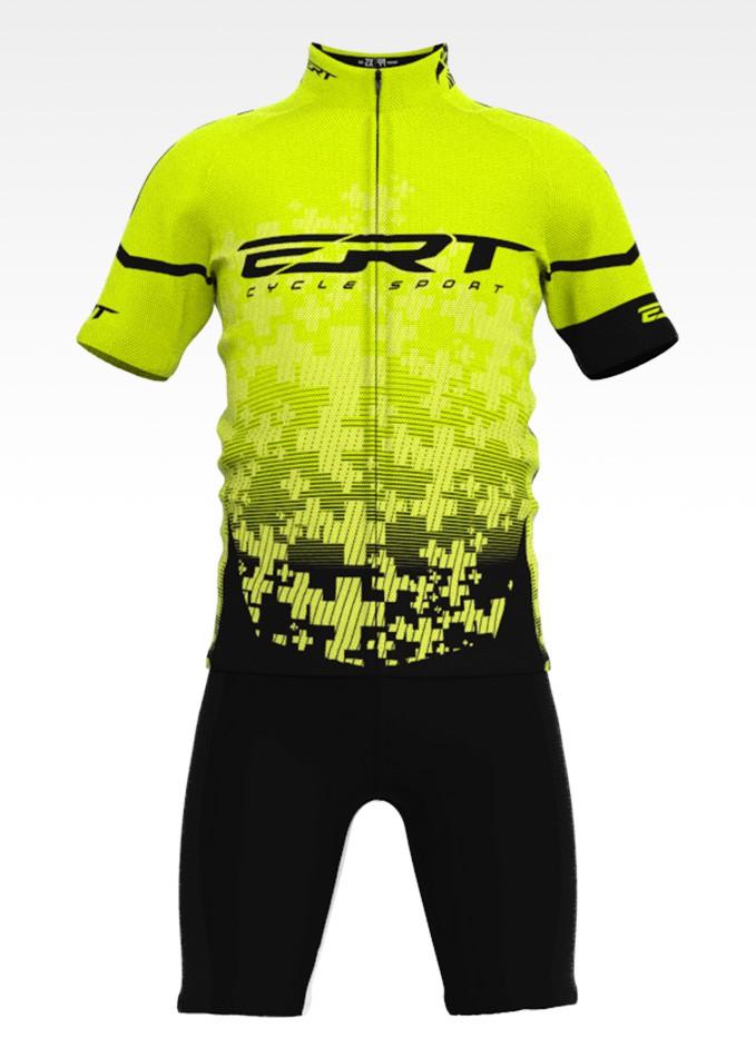 Conjunto de Ciclismo Infantil Camisa + Bermuda Team Amarelo - Vários Tamanhos