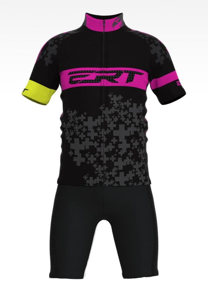 Conjunto de Ciclismo Infantil Preto com Rosa Camisa + Bermuda - Vários Tamanhos