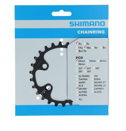 Coroa Assimétrica Shimano Deore M6000 24 dentes 10/11 Velocidades SLX M7000 XT M8000