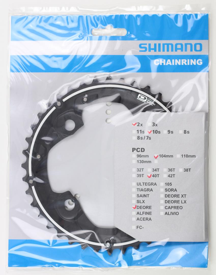 Coroa Dupla Pedivela Mtb Shimano Deore M615 40 dentes AJ 2x10 Bcd 104mm 10 Velocidades