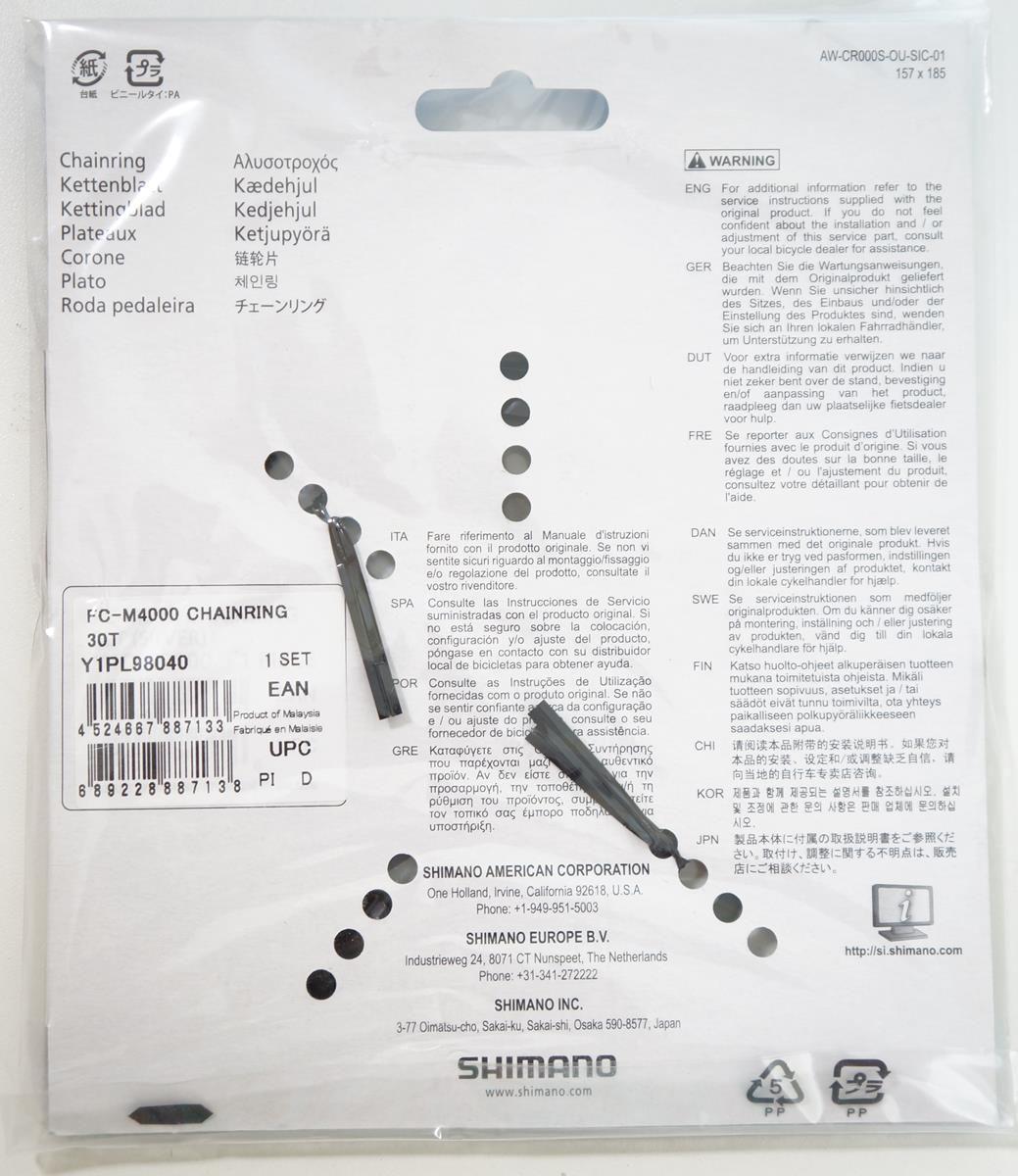 Coroa Mtb Shimano Alivio M4000 30t Bcd 96mm 9 Velocidades