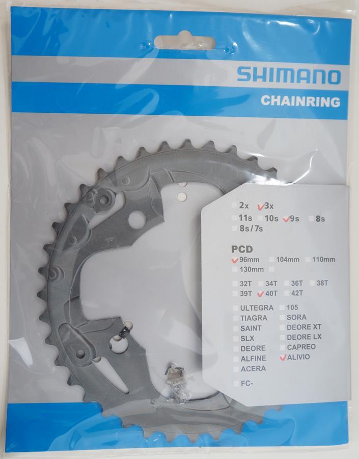 Coroa Mtb Shimano Alivio M4000 40t Bcd 96mm 9 Velocidades