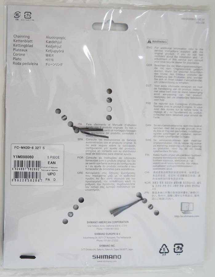 Coroa Mtb Shimano Alivio M430 32t Bcd 104mm 8-9 Velocidades