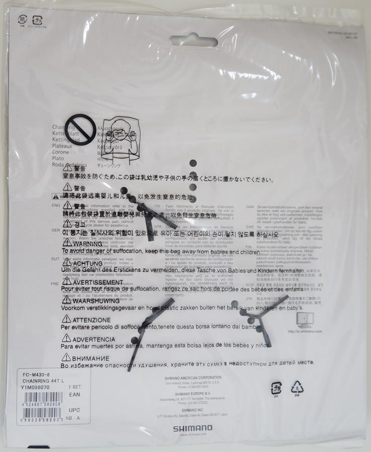 Coroa Mtb Shimano Alivio M430 44t Bcd 104mm 8 e 9 Velocidades