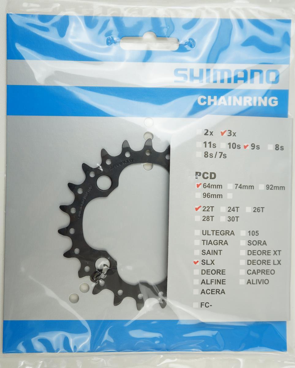 Coroa Mtb Shimano Deore SLX M660 22 dentes Bcd 64mm 9 ou 10 Velocidades