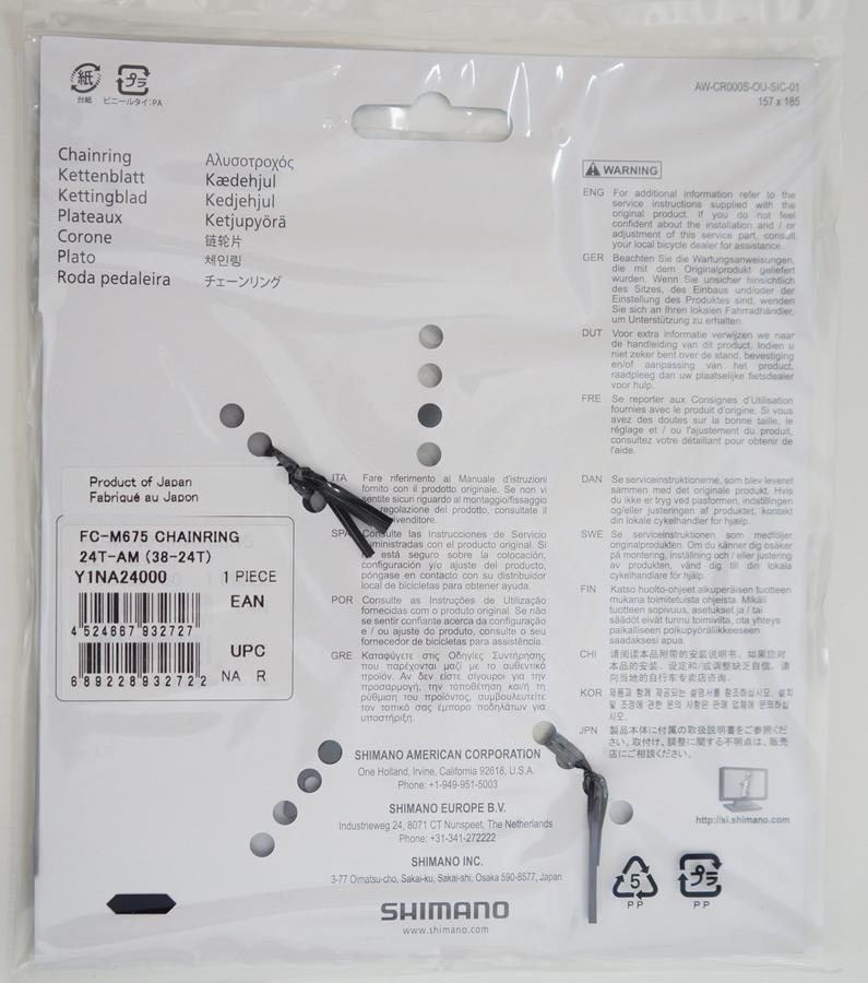 Coroa Mtb Shimano Deore Slx M675 24t Bcd 64mm 10 Velocidades