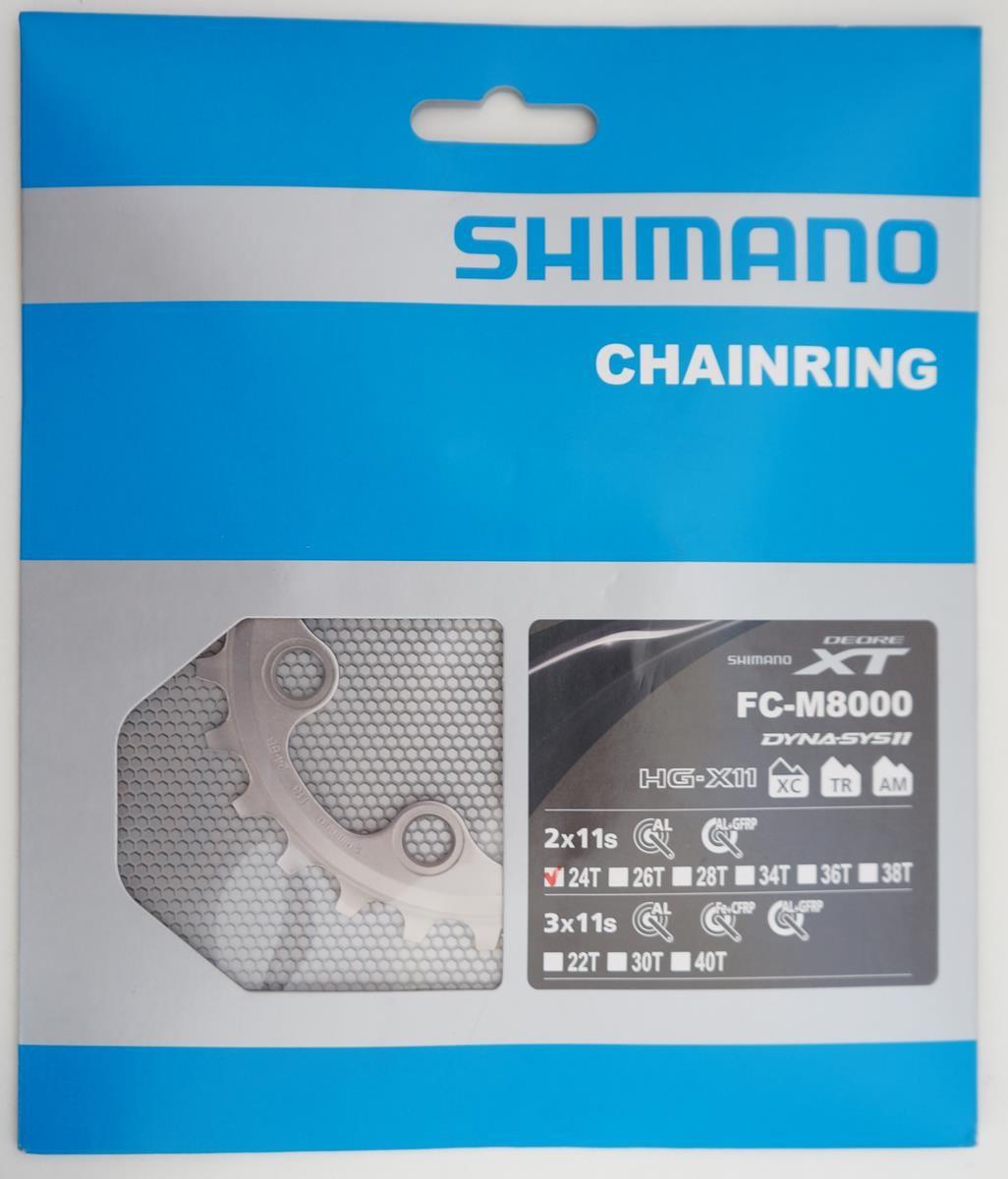 Coroa Mtb Shimano Deore Xt M8000 24t Bcd 64mm 11 Velocidades