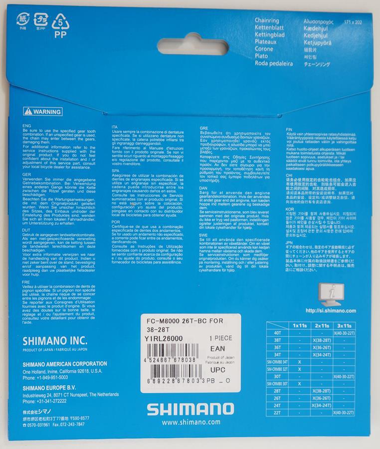 Coroa Mtb Shimano Deore Xt M8000 26t Bcd 64mm 11 Velocidades