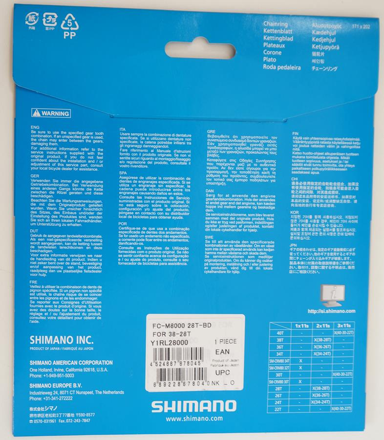 Coroa Mtb Shimano Deore Xt M8000 28t Bcd 64mm 2x11v