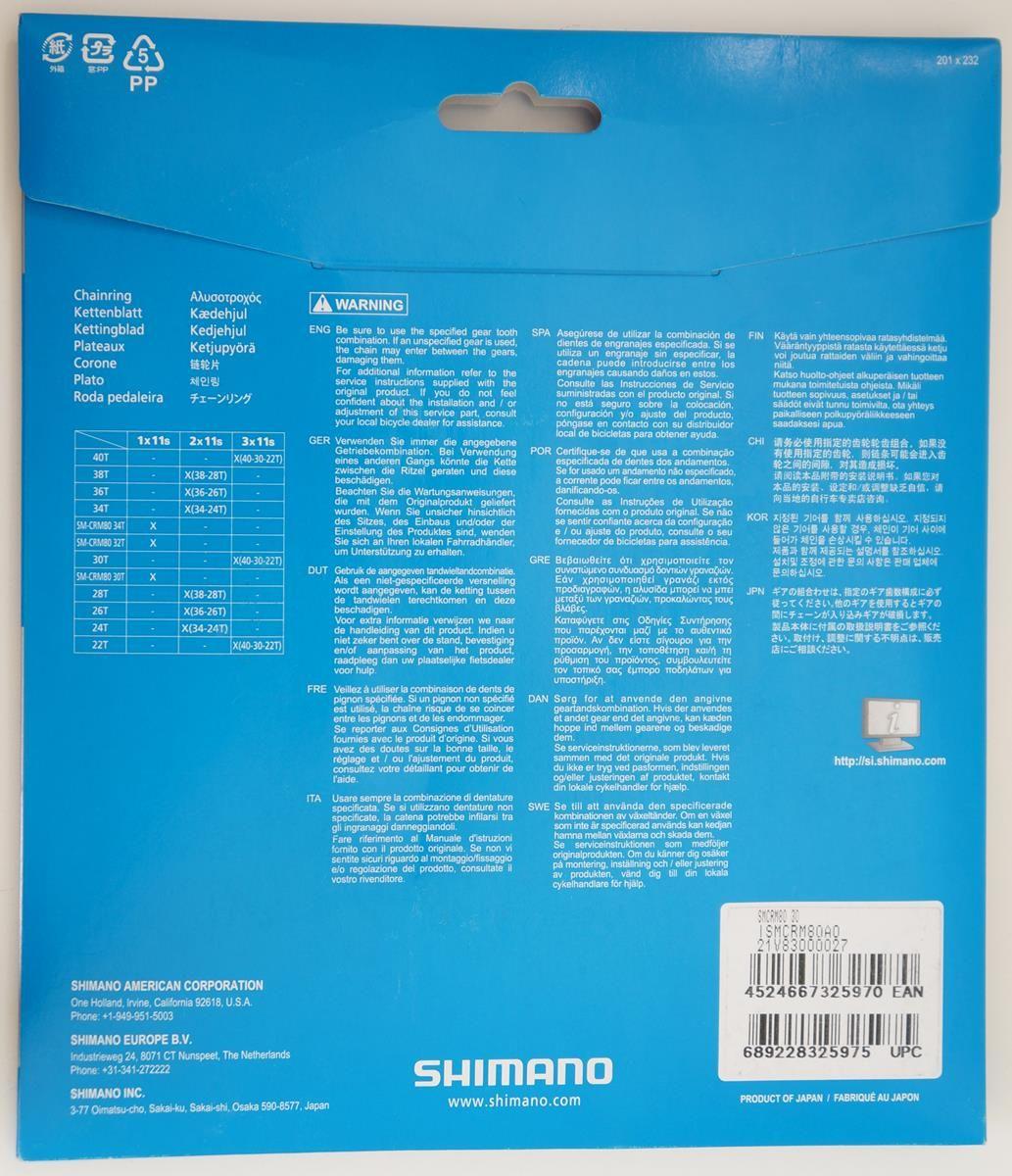 Coroa Mtb Shimano Deore Xt M8000 30t CRM80 Bcd 96mm 11 Velocidades