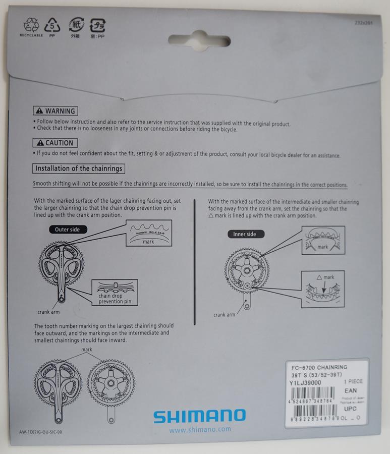 Coroa Speed Shimano Ultegra 6700 39t Bcd 130 10 Velocidades