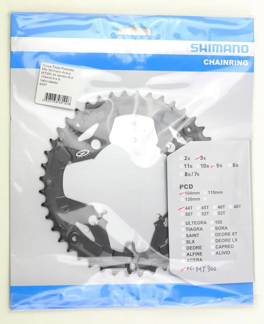 Coroa Tripla Pedivela Mtb Shimano Acera MT300 44 dentes Bcd 104mm 8 e 9 Velocidades
