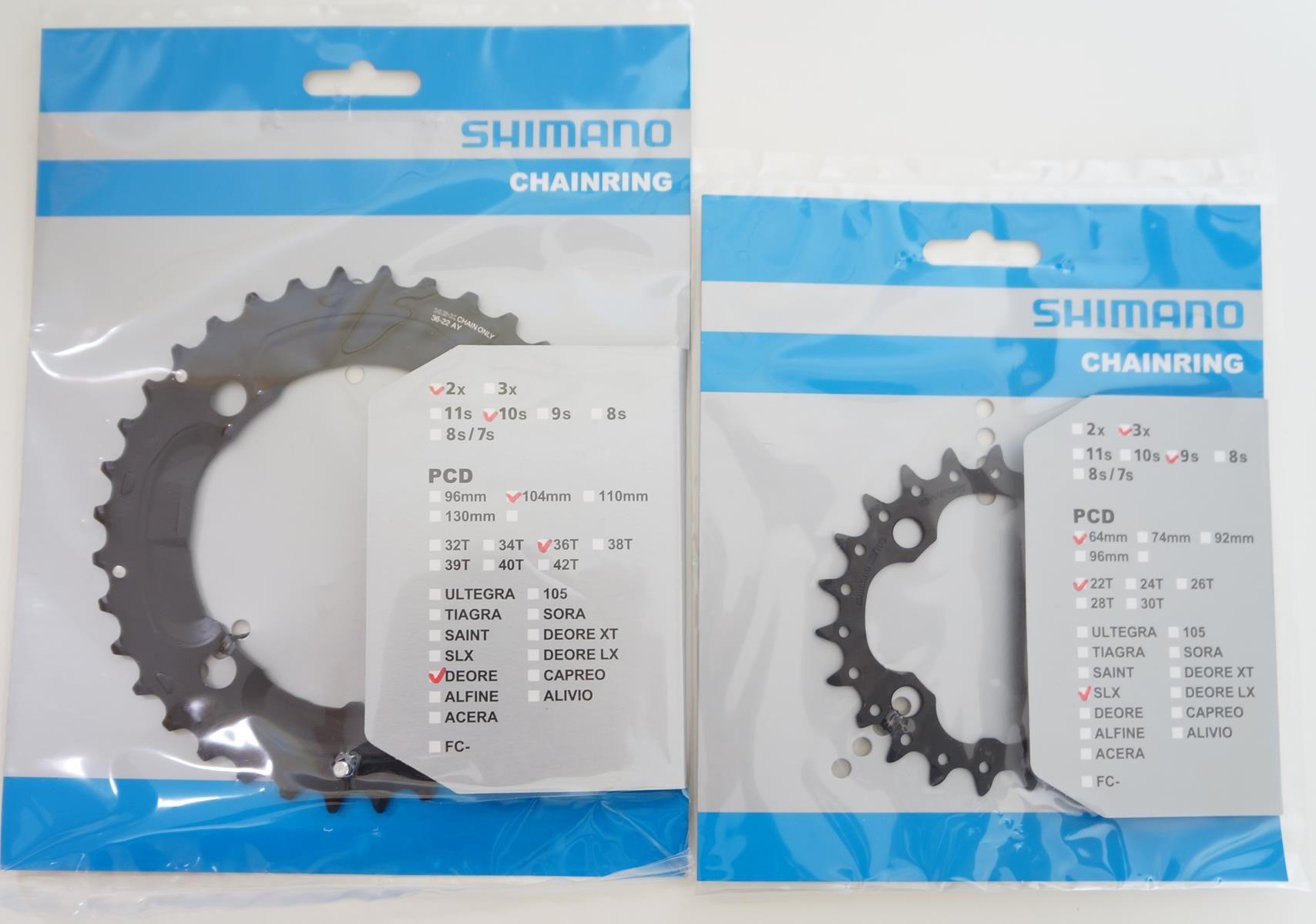 Coroas Dupla Mtb Shimano Deore M617 36 E 22t 2x10 Bcd 104-64mm 10 Velocidades