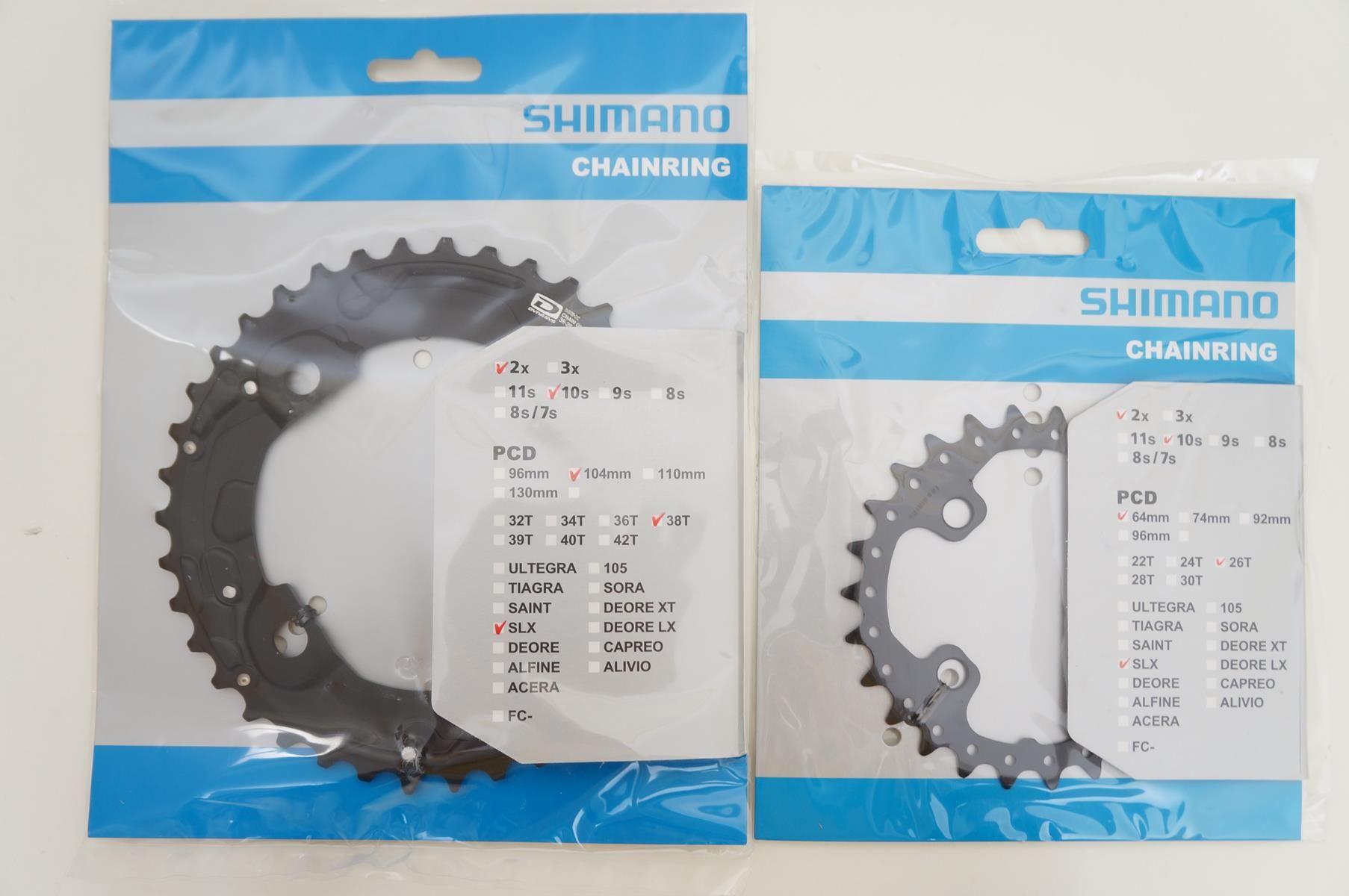 Coroas Mtb Shimano Deore SLX M675 38 E 24t 2x10 Bcd 104 64mm