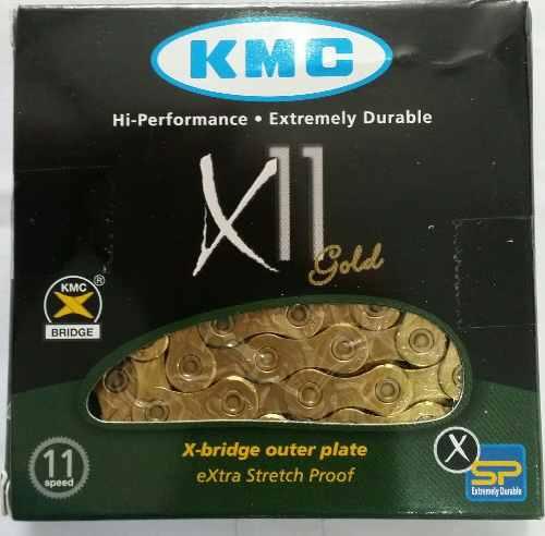 Corrente Bicicleta KMC X11 Dourada 11 velocidades 116 links com Missing Link