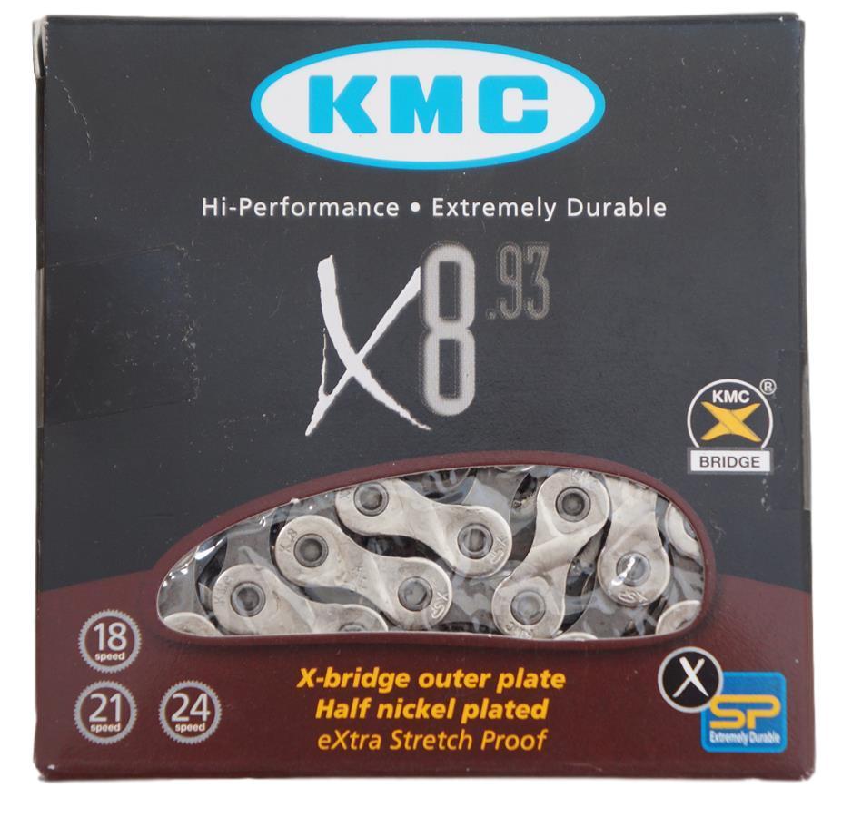 Corrente Bicicleta Kmc X8 Prata 8 Velocidades 116 Links com Missing Link