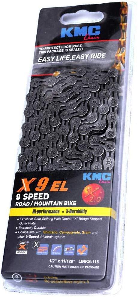Corrente Bicicleta Kmc X9 EL Elos Vazados 9 Velocidades 116 Links com Missing Link