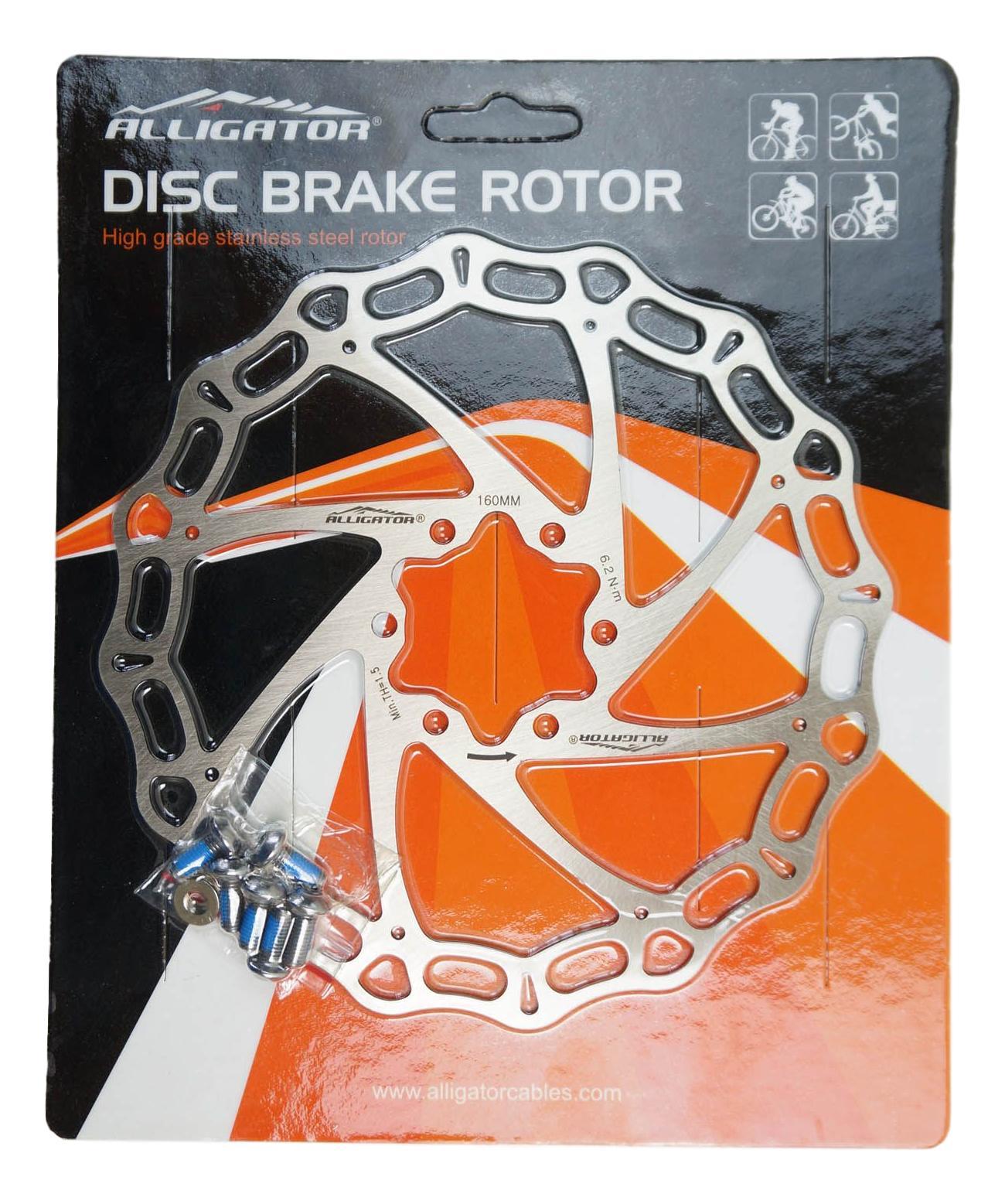 Disco de Freio à Disco Rotor Alligator 160mm 6 Furos em Aço Inox para Bicicletas