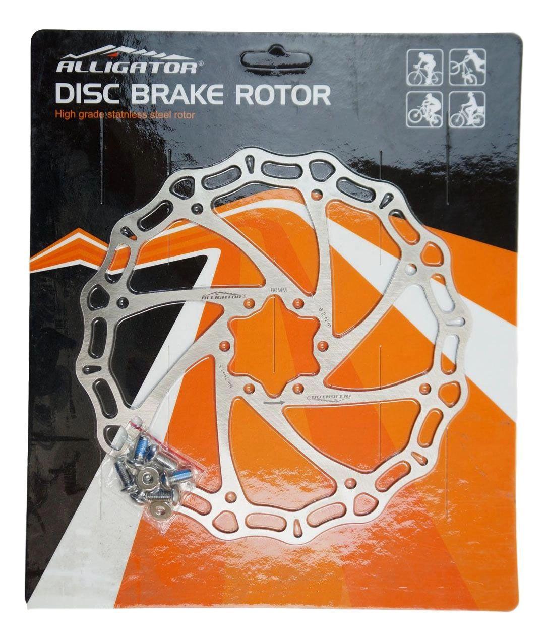 Disco de Freio Rotor Alligator 180mm para Cubo 6 Furos em Aço Inox 108 gramas
