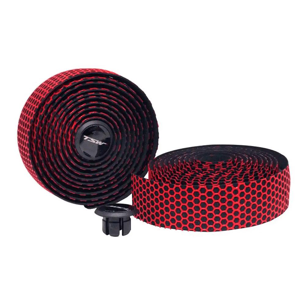Fita para Guidão Bicicletas Speed TSW 3mm Silicone Cor Vermelho Alto Grip Uso sem Luvas