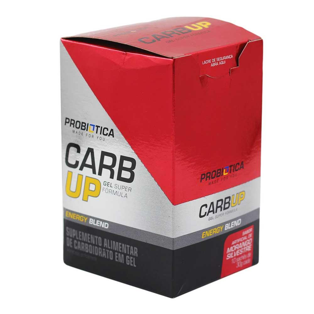 Gel Energético Probiotica Carb Up Morango Silvestre com 10 unidades para Ciclistas Corredores Aventura