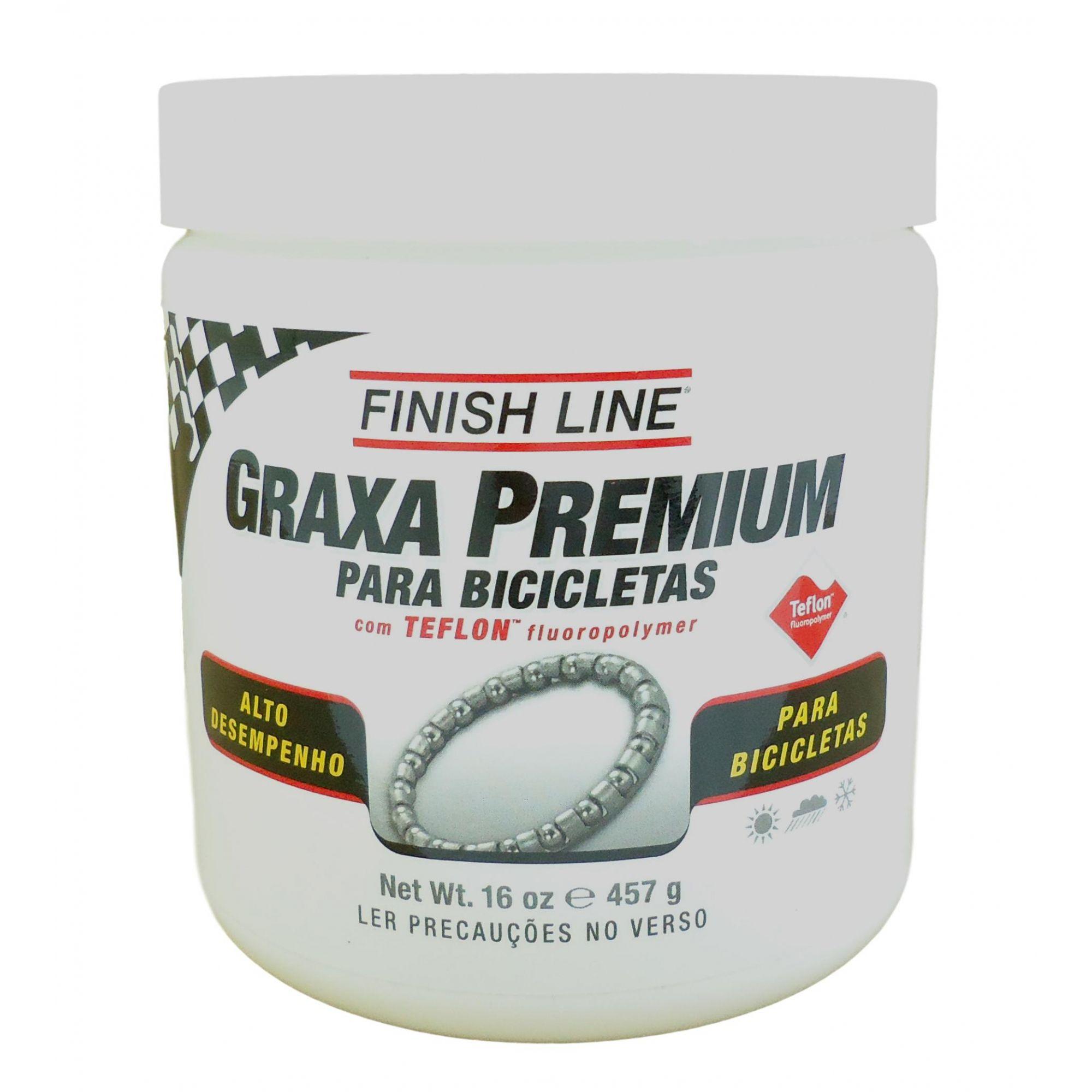 Graxa Branca Finish Line Premium Teflon para Rolamentos Cubos e Partes Bicicletas 457 gramas