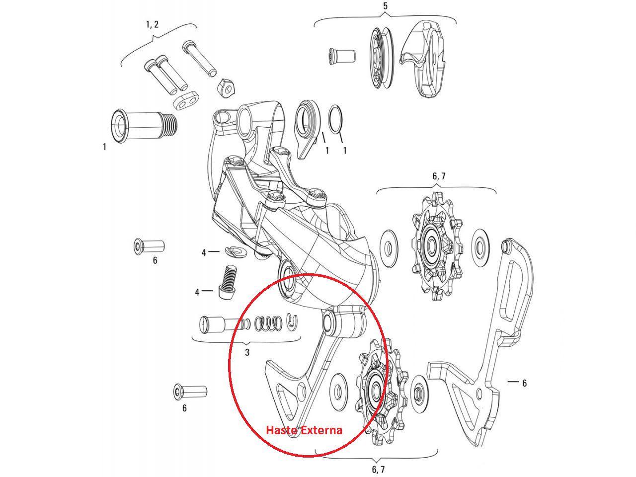 Haste Externa  para Câmbio Shimano XT M786 Cage Longo SGS