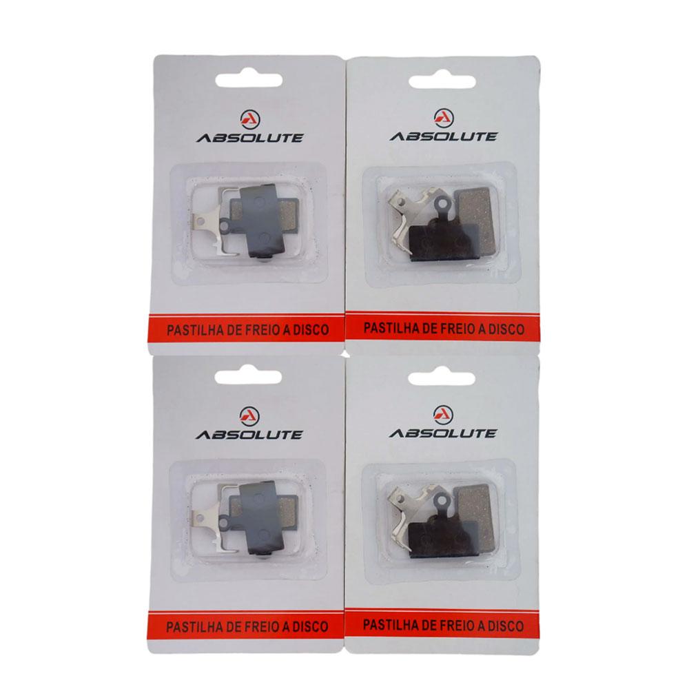 Kit 4 Pastilhas Freio à Disco Absolute para Shimano SLX XT XTR M675 M785 M8000 M987