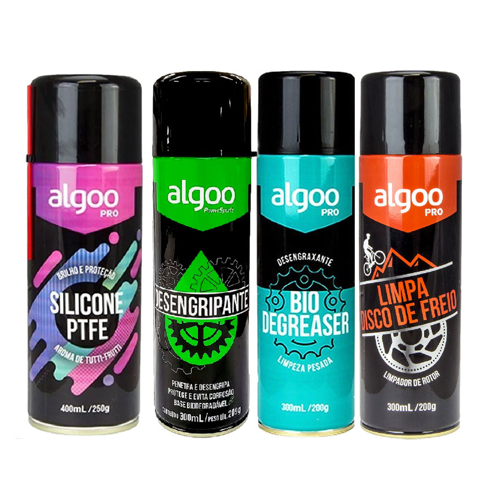 Kit Algoo Spray Silicone Desengripante Desengraxante Limpa Disco Biodegradável