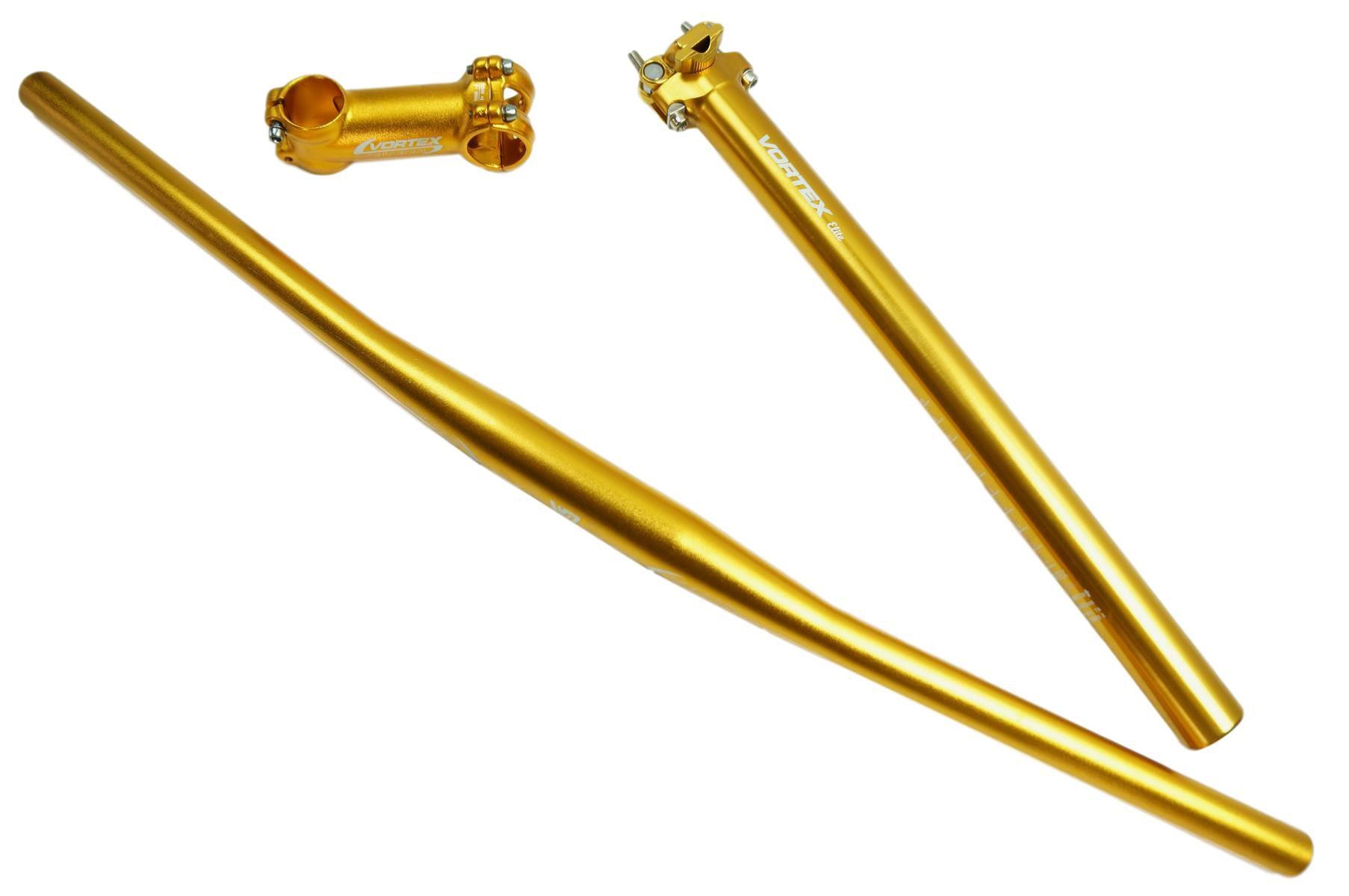Kit Bicicleta MTB Vortex com Guidão Mesa e Canote 31.6mm em Aluminio Cor Dourado