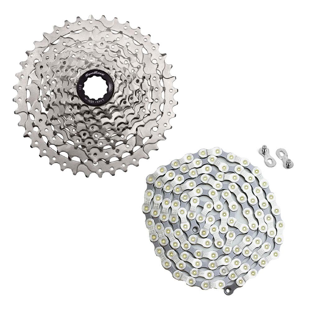 Kit Cassete Bike Sunrace M980 11-40 Dentes 9 Velocidades e Corrente TEC 9 Velocidades Padrão Shimano