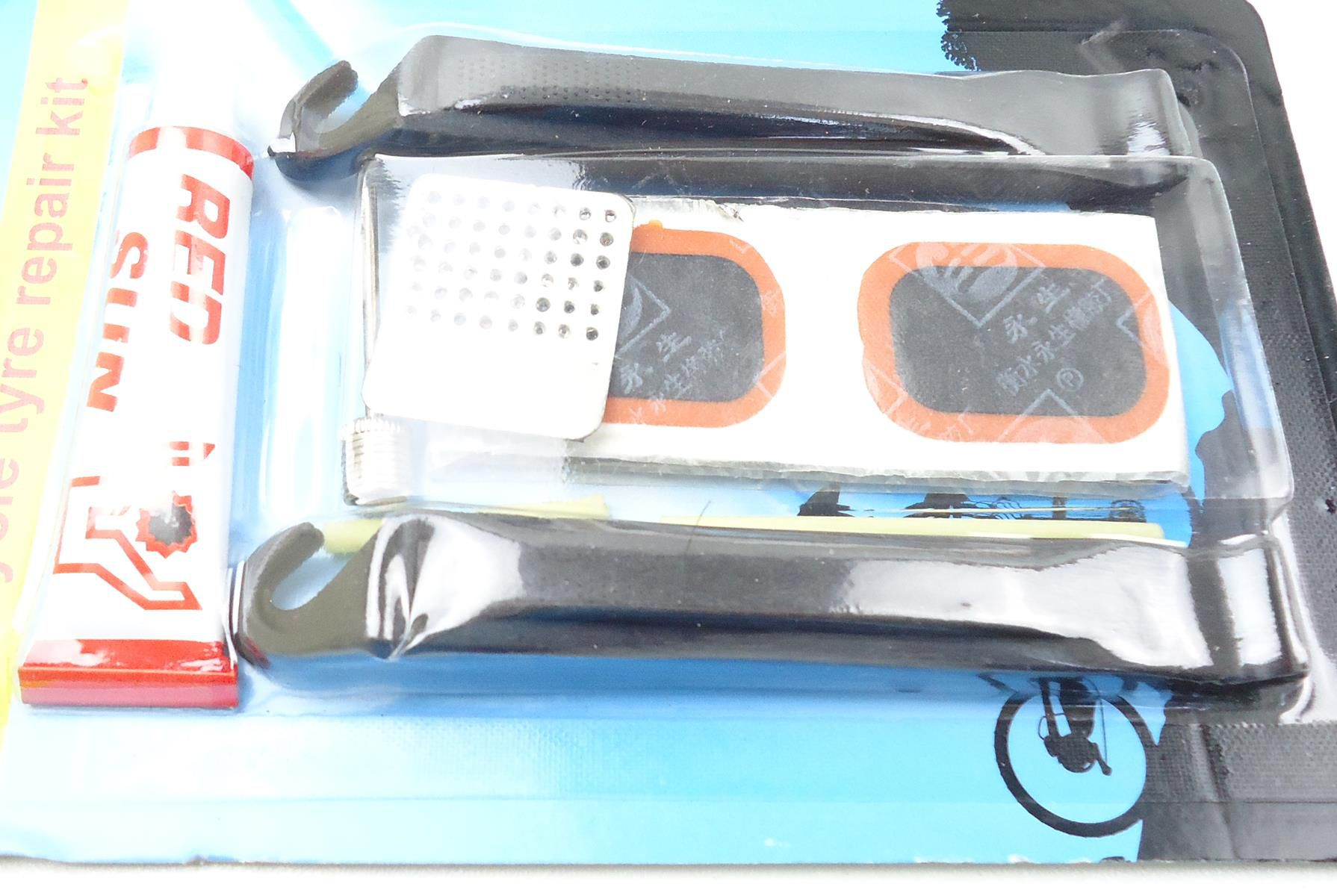 Kit de Reparo para Pneus com Câmara de ar para Bicicletas com Cola Lixa Remendos Espatulas