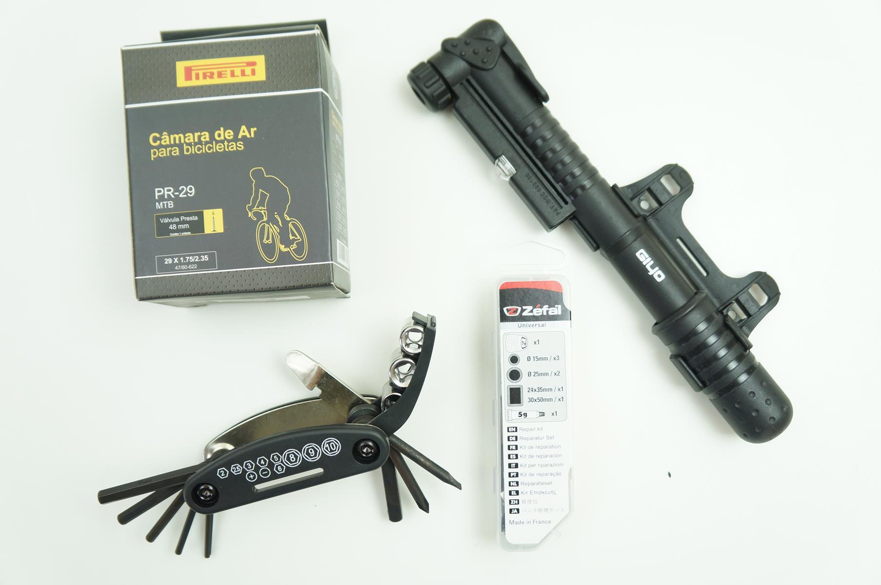 Kit Ferramentas para Bicicletas Câmara de Ar 29 + Canivete + Bomba + Remendo Pneu