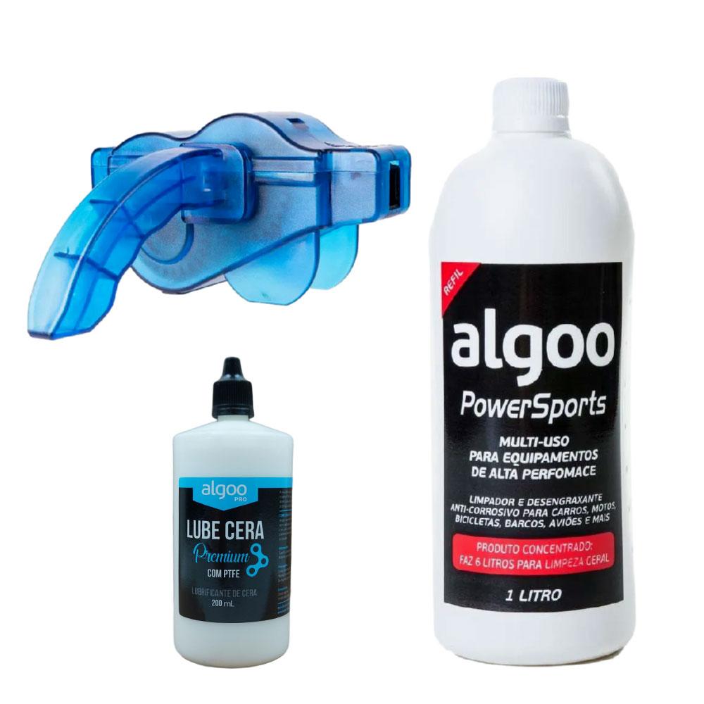 Kit Maquina de Limpar Correntes com Desengraxante 1 Litro e Óleo Cera Seco 200ml Algoo