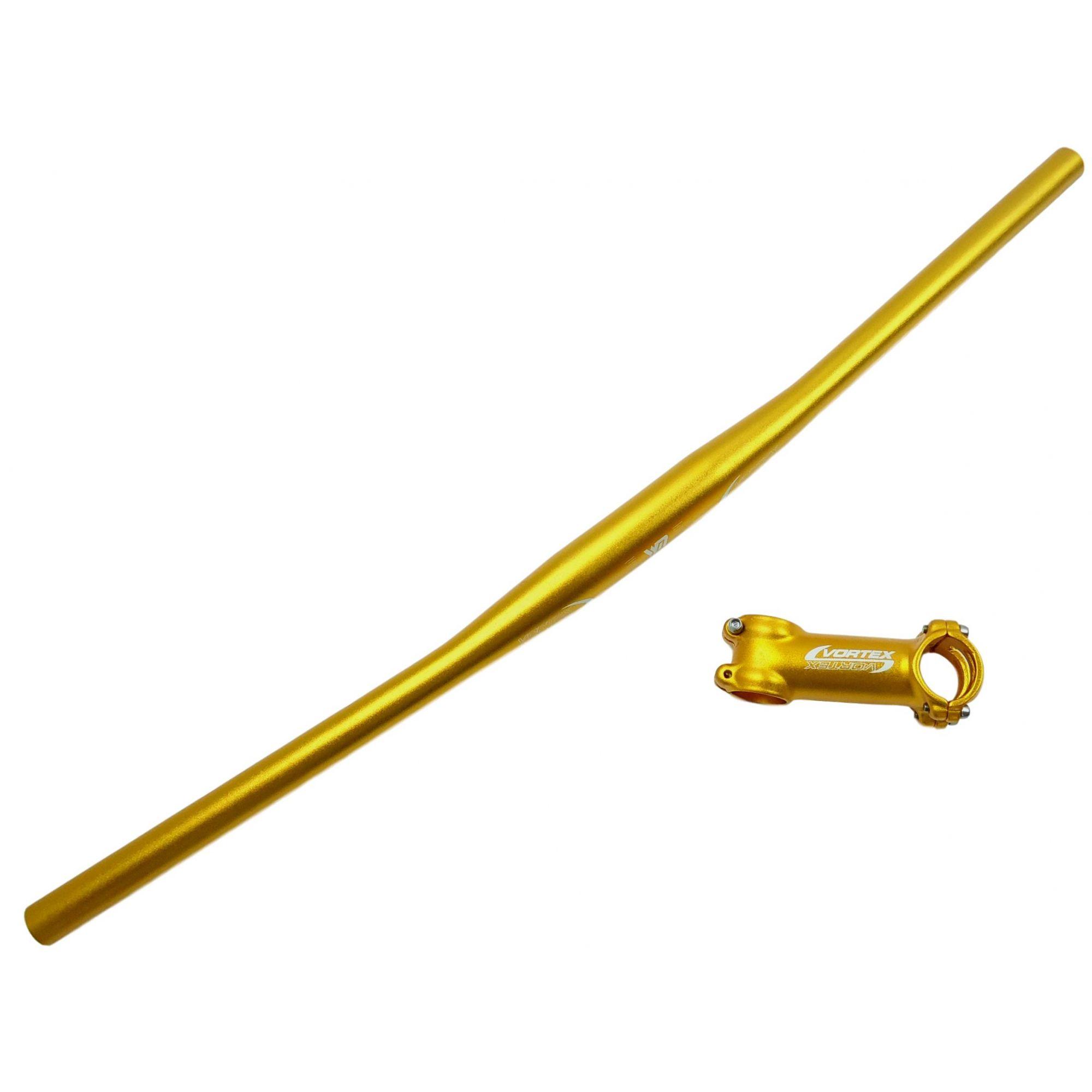 Kit MTB Vortex Guidão 710mm + Mesa 100mm 31.8mm em Aluminio Cor Dourado
