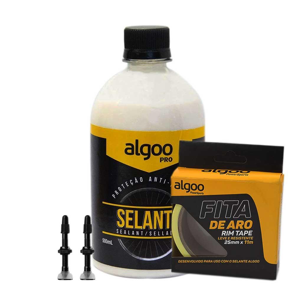 Kit Tubeless Algoo Com Fita 25mm - Liquido Selante 500ml e Bicos p/ Pneus Sem Câmara 26 27.5 29