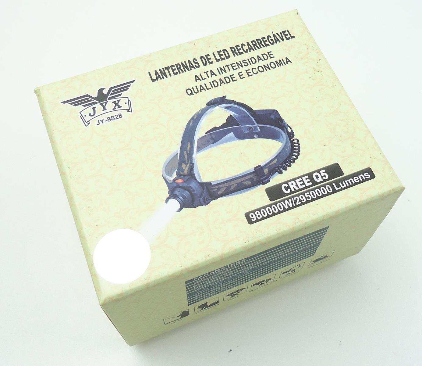 Lanterna Farol De Capacete com Super Led Cree Q5 JWS JY-8828 Bateria Recarregável Fixação Na Cabeça