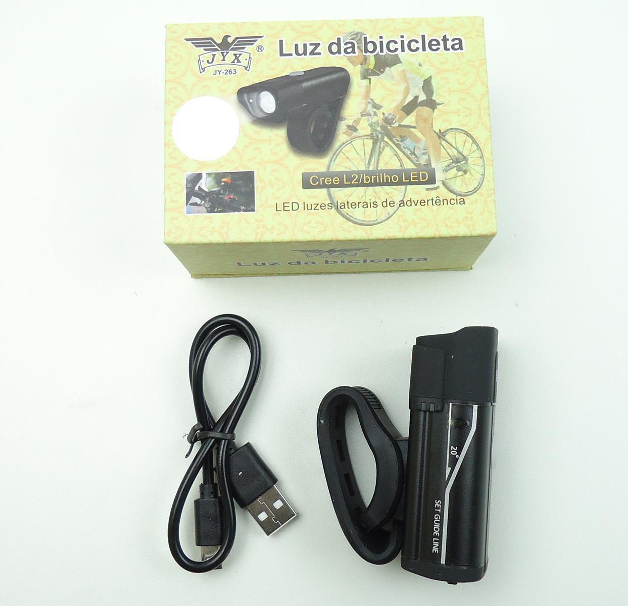 Lanterna Farol Dianteiro para Bicicleta JWS JY-263 Super Led Preto Recarregavél
