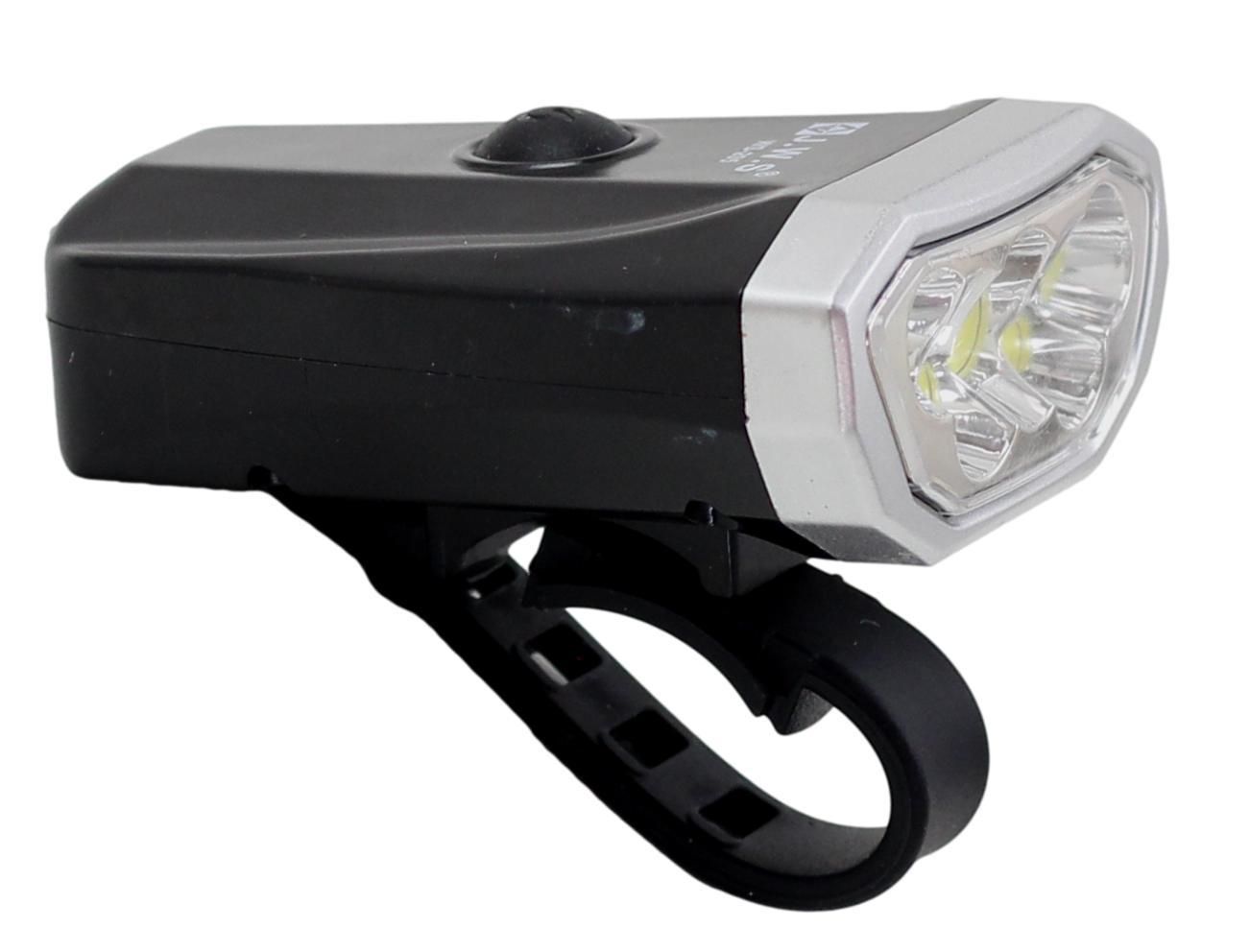 Lanterna Farol Dianteiro para Bicicleta JWS WS-205 5 Super Leds 800 Lúmens Preto Recarregavél