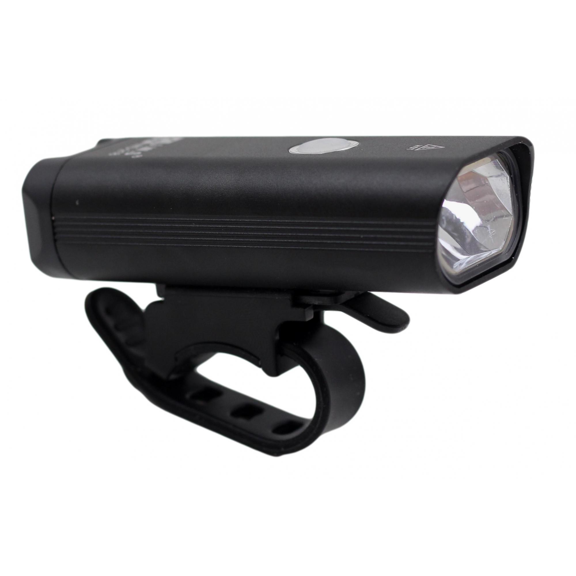 Lanterna Farol Dianteiro para Bicicleta JWS WS-218 Super Led 400 Lúmens Preto Recarregavél