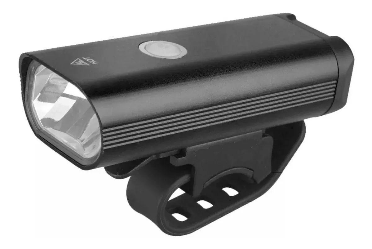 Lanterna Farol Dianteiro para Bicicleta JWS WS-276 Super Led 400 Lúmens Preto Recarregavél