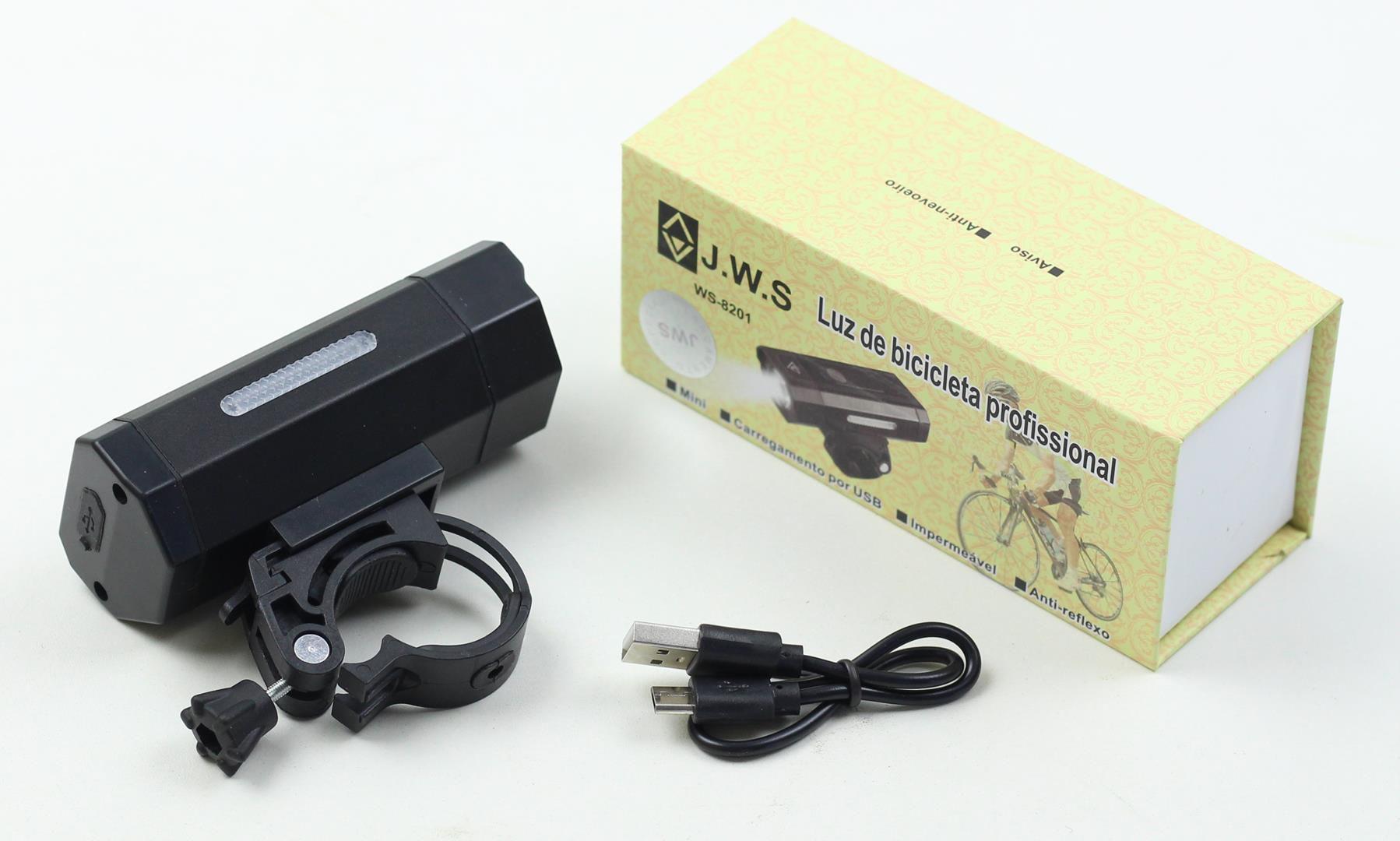 Lanterna Farol Dianteiro para Bicicleta JWS WS-8201 Super Led 1000 Lúmens Preto Recarregavél